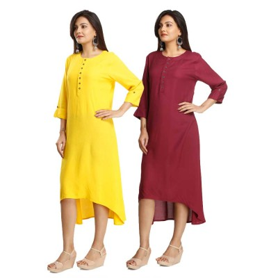 ASMANII COMBO PACK OF 2 YELLOW & MAROON VISCOSE A LINE KURTI JAIPUR