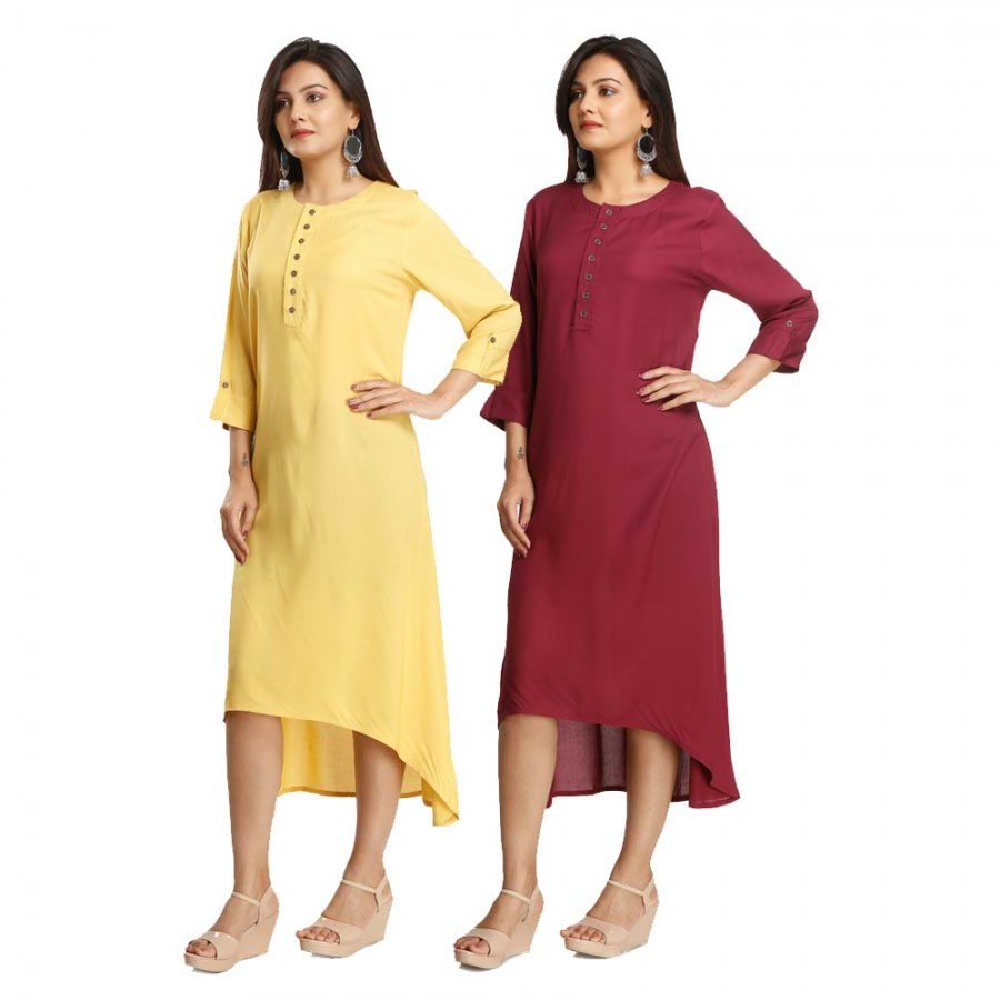 ASMANII COMBO PACK OF 2 LIGHT YELLOW & MAROON VISCOSE A LINE KURTI JAIPUR