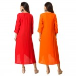 ASMANII COMBO PACK OF 2 RED & ORANGE VISCOSE A LINE KURTI JAIPUR