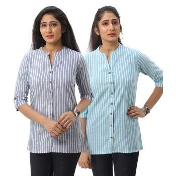 ASMANII COMBO PACK OF 2 BLUE LIGHT BLUE COTTON CASUAL STRIPED SHIRTS