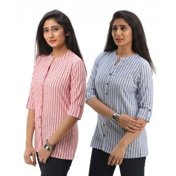 ASMANII COMBO PACK OF 2 RED BLUE COTTON CASUAL STRIPED SHIRTS