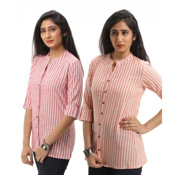 ASMANII COMBO PACK OF 2 RED ORANGE COTTON CASUAL STRIPED SHIRTS