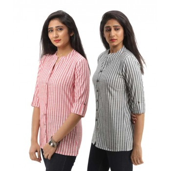 ASMANII COMBO PACK OF 2 RED BLACK COTTON CASUAL STRIPED SHIRTS