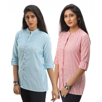 ASMANII COMBO PACK OF 2 LIGHT BLUE RED COTTON CASUAL STRIPED SHIRTS