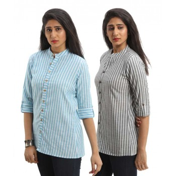 ASMANII COMBO PACK OF 2 LIGHT BLUE BLACK COTTON CASUAL STRIPED SHIRTS