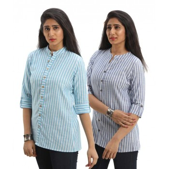 ASMANII COMBO PACK OF 2 LIGHT BLUE BLUE COTTON CASUAL STRIPED SHIRTS