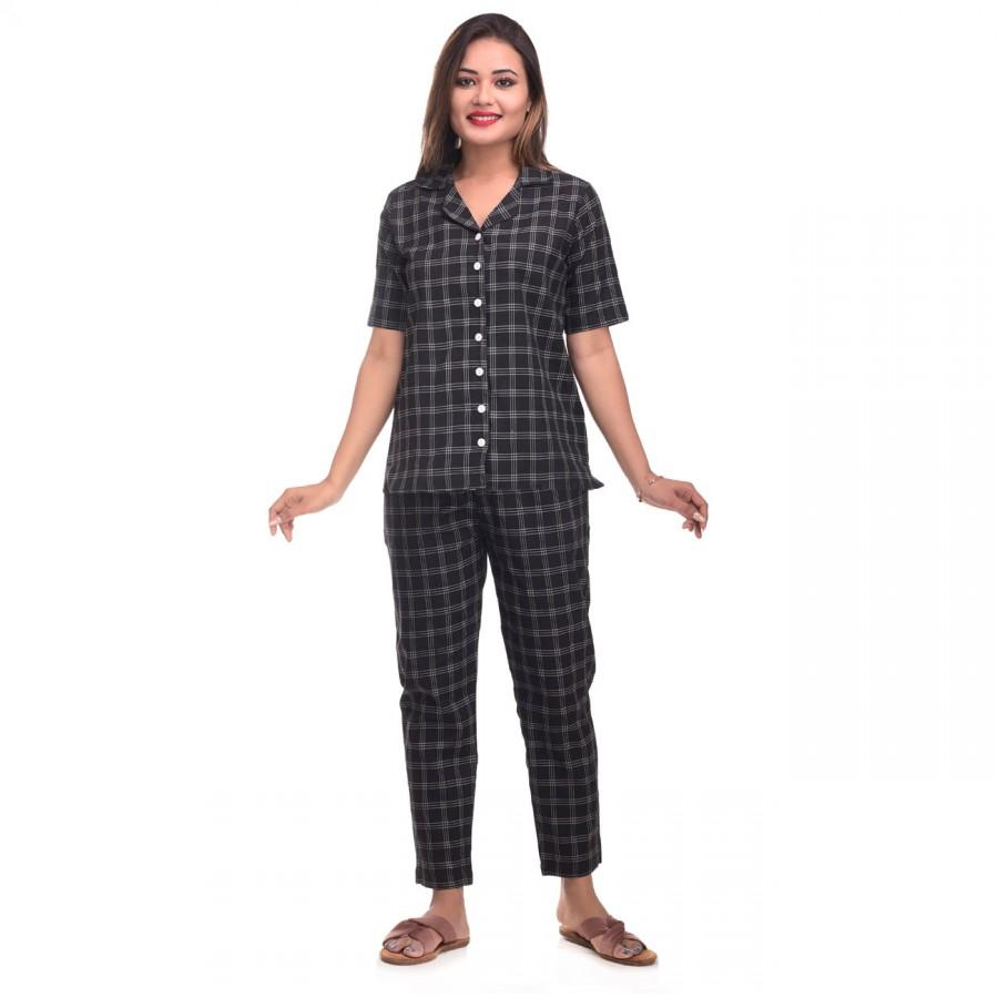 Black White Cotton Check Half Sleeve Shirt & Pyjama Set
