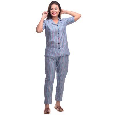 Blue Pink Cotton Striped Half Sleeve Shirt & Pyjama Set