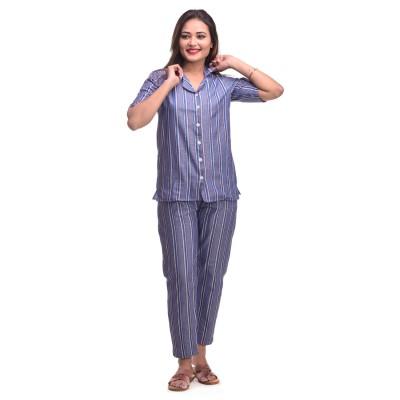Blue White Cotton Striped Half Sleeve Shirt & Pyjama Set