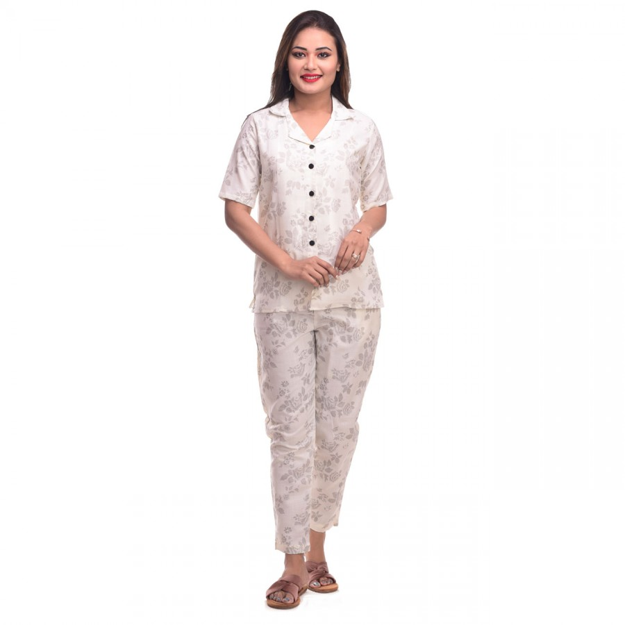 Cream Flower Cotton Printed Half Sleeve Shirt & Pyjama Set