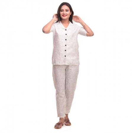 Cream Cotton Printed Half Sleeve Shirt & Pyjama Set