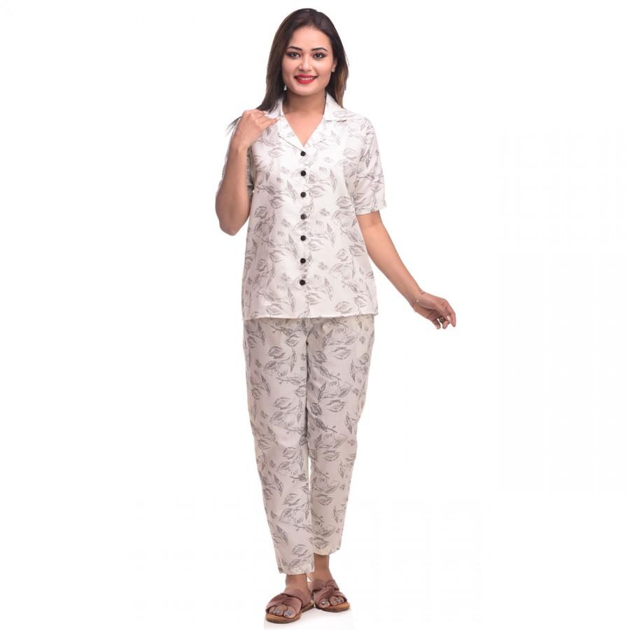 Cream Grey Cotton Printed Half Sleeve Shirt & Pyjama Set
