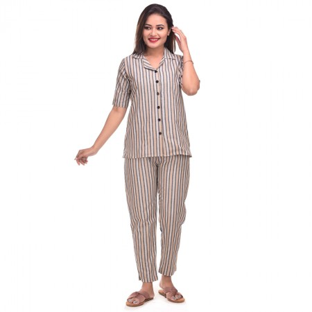 Cream Grey Cotton Striped Half Sleeve Shirt & Pyjama Set