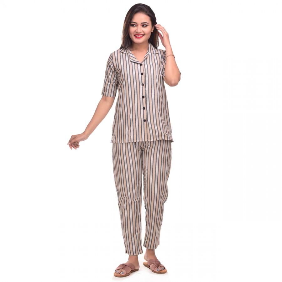 Cream Grey Cotton Striped Half Sleeve Shirt & Pyjama Set