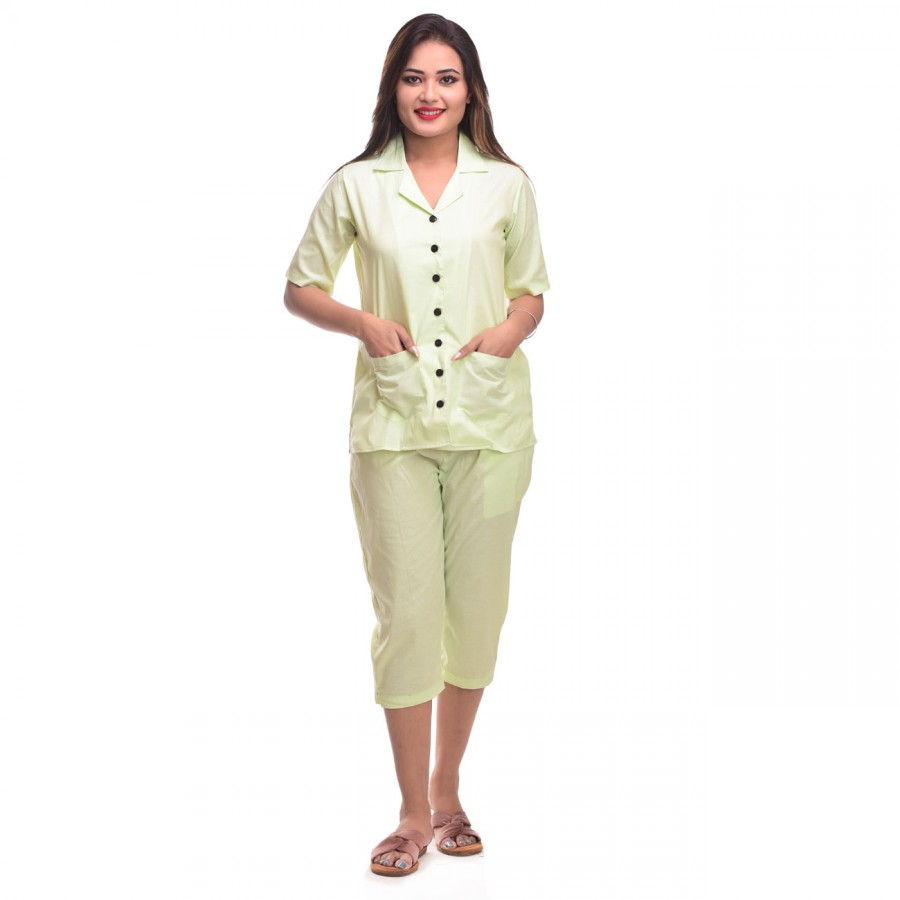 Lemon Capri Cotton Half Sleeve Shirt & Pyjama Night Wear Set
