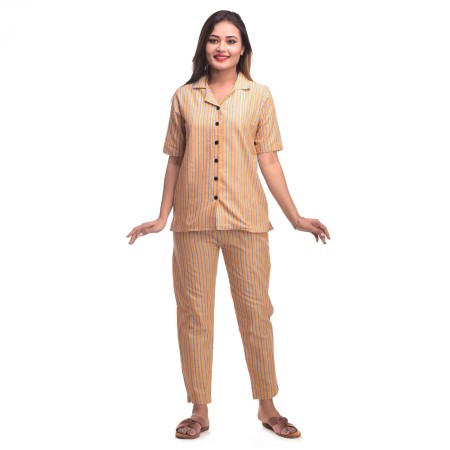 Orange Blue Cotton Striped Half Sleeve Shirt & Pyjama Set