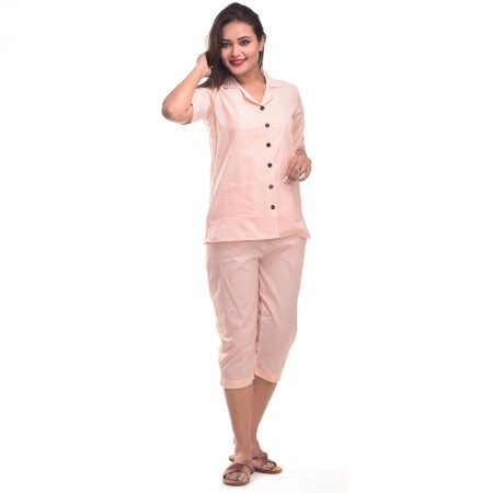 Peach Capri Cotton Half Sleeve Shirt & Pyjama Night Wear Set
