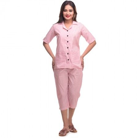 Pink Capri Cotton Half Sleeve Shirt & Pyjama Night Wear Set
