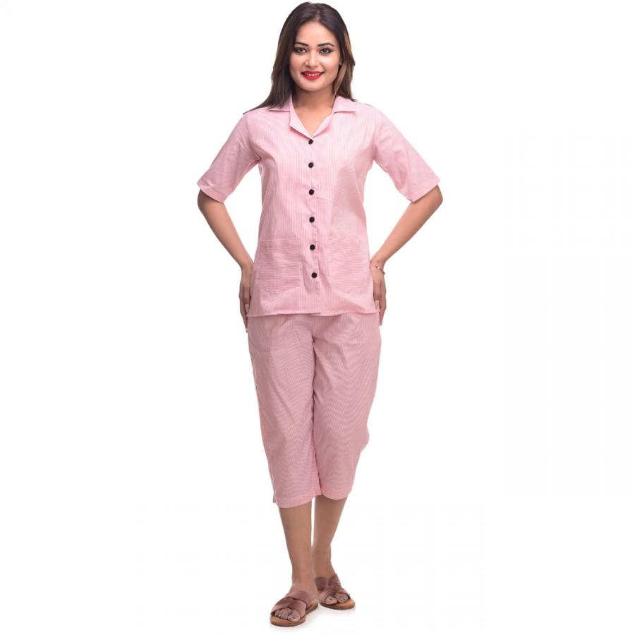 Pink Capri Cotton Half Sleeve Shirt & Pyjama Night Wear Set