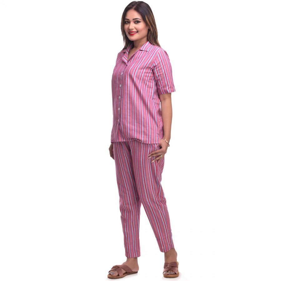 Pink Cotton Striped Half Sleeve Shirt & Pyjama Set
