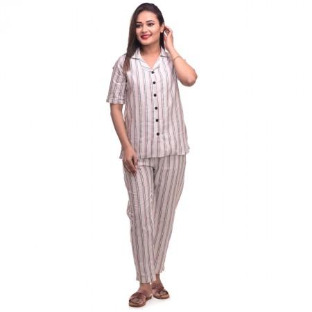 Pink Black Cotton Striped Half Sleeve Shirt & Pyjama Set