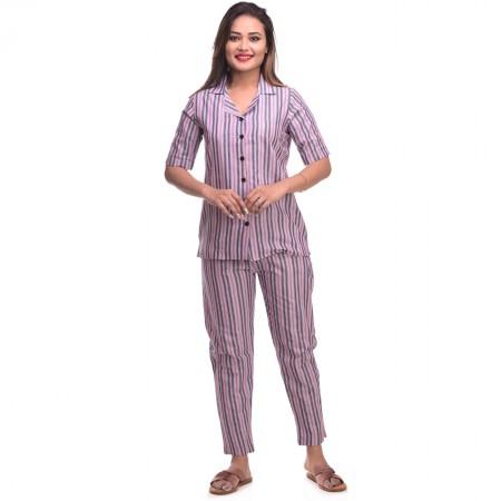 Pink Blue Cotton Striped Half Sleeve Shirt & Pyjama Set