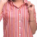 Pink Red Cotton Striped Half Sleeve Shirt & Pyjama Set