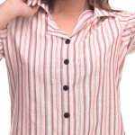 Pink White Cotton Striped Half Sleeve Shirt & Pyjama Set