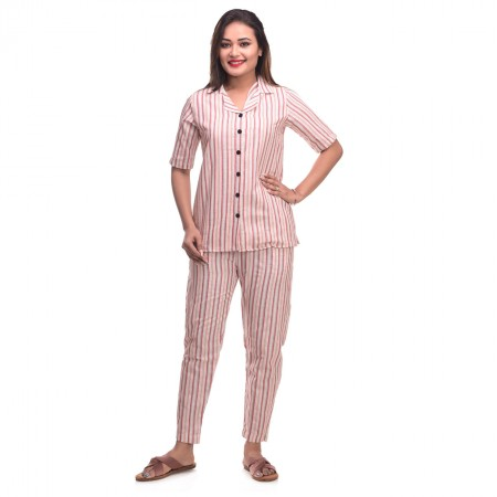 Pink White Cotton Striped Half Sleeve Shirt & Pyjama Set