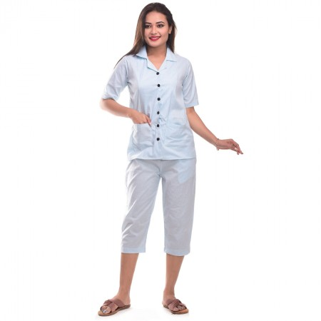 Sky Blue Capri Cotton Half Sleeve Shirt & Pyjama Night Wear Set