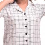 White Black CottonCheck Half Sleeve Shirt & Pyjama Set