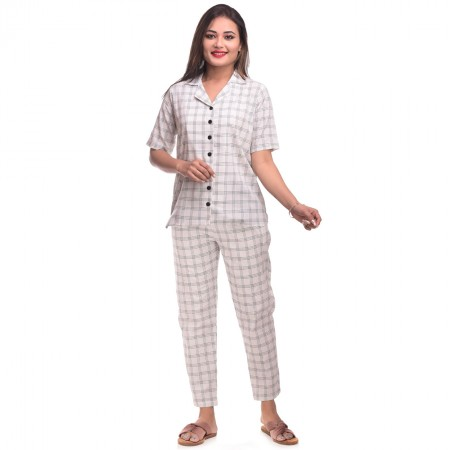 White Black CottonCheck Half Sleeve Shirt & Pyjama Set