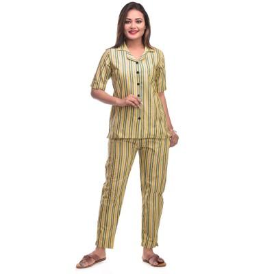 Yellow Grey Cotton Striped Half Sleeve Shirt & Pyjama Set
