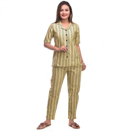 Yellow Grey Cotton Striped Half Sleeve Shirt & Pyjama Set