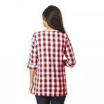ASMANII WOMEN MAROON CHECK CASUAL SHIRT JAIPUR