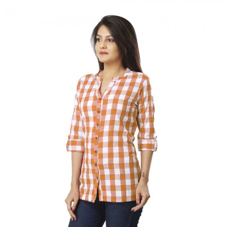 ASMANII BROWN CHECK SHIRT JAIPUR