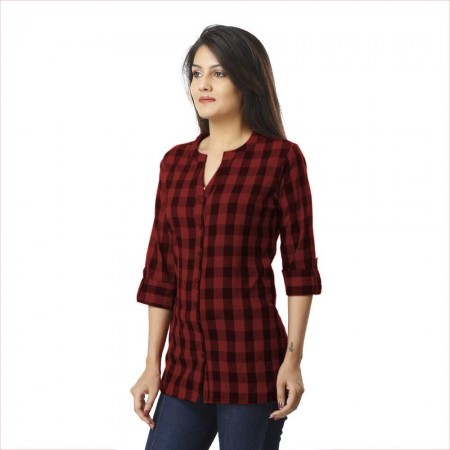 ASMANII DARK BROWN CHECK SHIRT FOR WOMEN JAIPUR