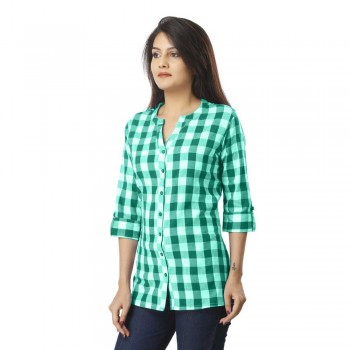 ASMANII GREEN CHECK SHIRT FOR WOMEN JAIPUR