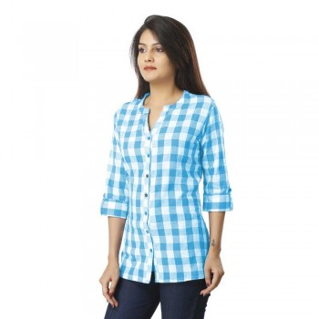 ASMANII WOMEN SKY BLUE CHECK SHIRT JAIPUR