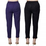 COMBO PACK BLUE BLACK COTTON CASUAL PANTS JAIPUR