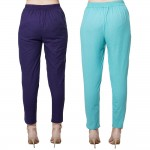COMBO PACK BLUE CYAN COTTON FLEX CASUAL PANTS JAIPUR
