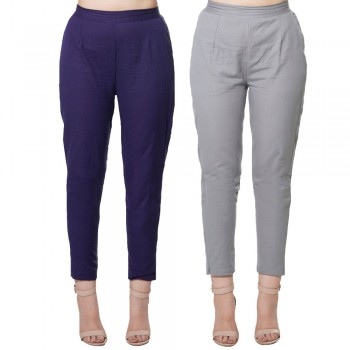COMBO PACK BLUE & GREY COTTON FLEX CASUAL PANTS JAIPUR