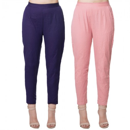 COMBO PACK BLUE MAGENTA PINK COTTON FLEX CASUAL PANTS JAIPUR
