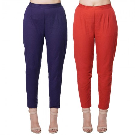 COMBO PACK BLUE MAROON COTTON FLEX CASUAL PANTS JAIPUR
