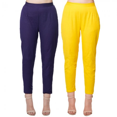 COMBO PACK BLUE YELLOW COTTON FLEX CASUAL PANTS JAIPUR