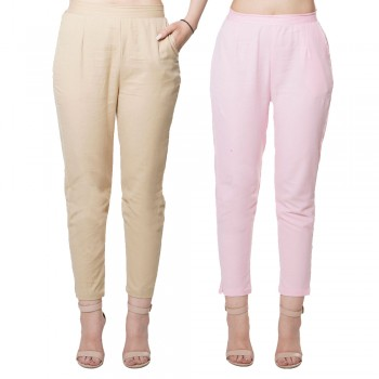 COMBO PACK CHIKU BABY PINK COTTON CASUAL PANTS JAIPUR
