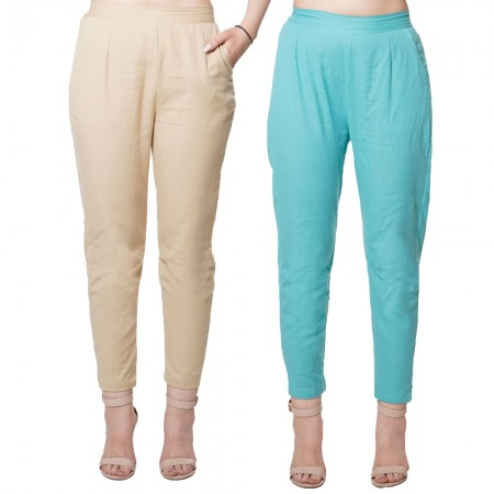 COMBO PACK CHIKU CYAN COTTON FLEX CASUAL PANTS JAIPUR