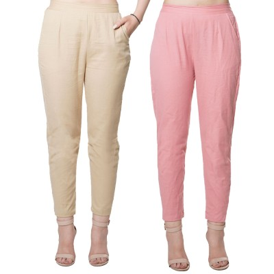 COMBO PACK CHIKU MAGENTA PINK  COTTON FLEX PANTS JAIPUR