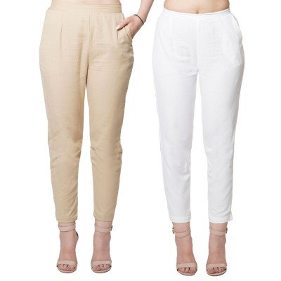 COMBO PACK  CHIKU WHITE COTTON FLEX PANTS JAIPUR