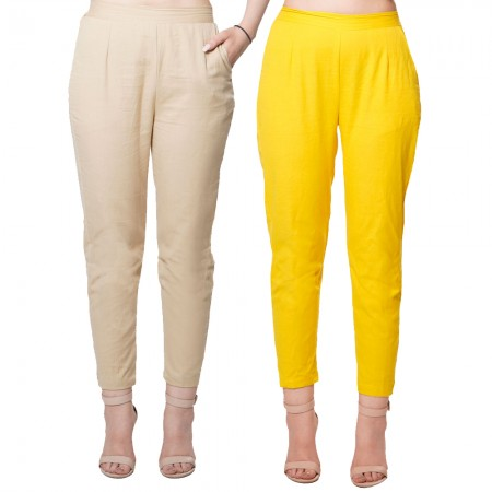 COMBO PACK  CHIKU YELLOW COTTON FLEX PANTS JAIPUR
